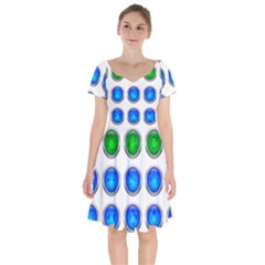 Vector Round Image Color Button Short Sleeve Bardot Dress