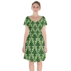 White Flowers Green Damask Short Sleeve Bardot Dress