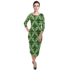 White Flowers Green Damask Quarter Sleeve Midi Velour Bodycon Dress by Pakrebo