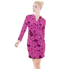 Cherry Blossoms Floral Design Button Long Sleeve Dress by Pakrebo