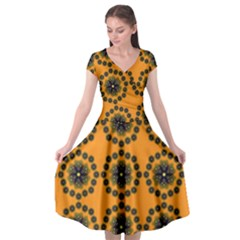 Abstract Template Flower Cap Sleeve Wrap Front Dress