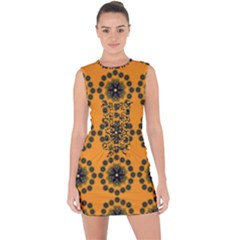 Abstract Template Flower Lace Up Front Bodycon Dress by Pakrebo