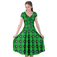 Texture Stucco Graphics Flower Cap Sleeve Wrap Front Dress