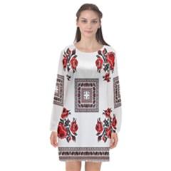 Ornament Pattern Background Design Long Sleeve Chiffon Shift Dress