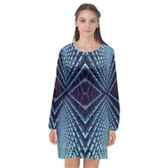 Sci Fi Texture Futuristic Design Long Sleeve Chiffon Shift Dress