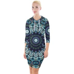 Pattern Abstract Background Art Quarter Sleeve Hood Bodycon Dress by Pakrebo