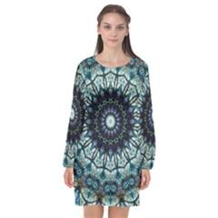 Pattern Abstract Background Art Long Sleeve Chiffon Shift Dress  by Pakrebo