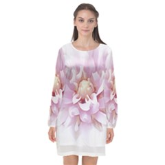 Abstract Transparent Image Flower Long Sleeve Chiffon Shift Dress