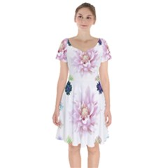 Abstract Transparent Image Flower Short Sleeve Bardot Dress