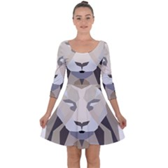 Polygonal Low Poly Lion Feline Quarter Sleeve Skater Dress