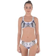 Polygonal Low Poly Lion Feline Criss Cross Bikini Set by Pakrebo