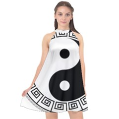 Yin Yang Eastern Asian Philosophy Halter Neckline Chiffon Dress  by Pakrebo