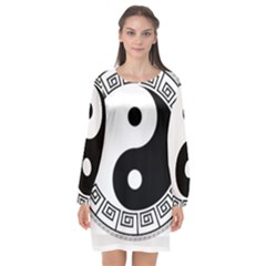 Yin Yang Eastern Asian Philosophy Long Sleeve Chiffon Shift Dress