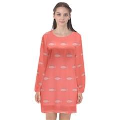 Its Fishy Long Sleeve Chiffon Shift Dress