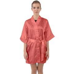 Simple Squares Quarter Sleeve Kimono Robe by TimelessFashion