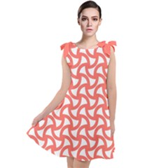 Odd Shaped Grid Tie Up Tunic Dress by TimelessFashion