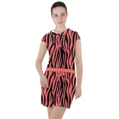 Zebra Style Drawstring Hooded Dress by TimelessFashion