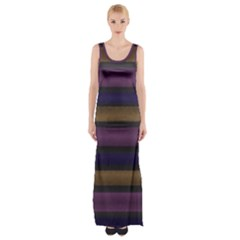Stripes Pink Yellow Purple Grey Maxi Thigh Split Dress by BrightVibesDesign