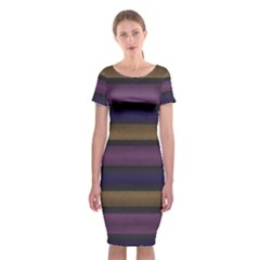 Stripes Pink Yellow Purple Grey Classic Short Sleeve Midi Dress by BrightVibesDesign