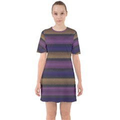 Stripes Pink Yellow Purple Grey Sixties Short Sleeve Mini Dress by BrightVibesDesign