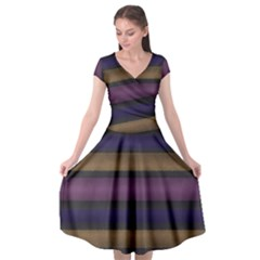 Stripes Pink Yellow Purple Grey Cap Sleeve Wrap Front Dress by BrightVibesDesign