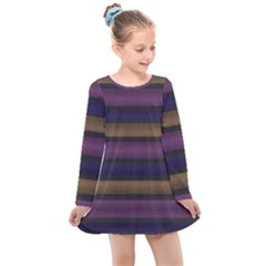 Stripes Pink Yellow Purple Grey Kids  Long Sleeve Dress by BrightVibesDesign