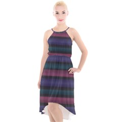 Stripes Pink Purple Teal Grey High-low Halter Chiffon Dress  by BrightVibesDesign