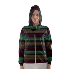 Stripes Green Red Yellow Grey Hooded Windbreaker (women) by BrightVibesDesign