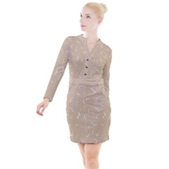 Almond Buff Scribbles Button Long Sleeve Dress by TimelessFashion