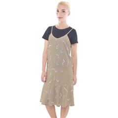 Almond Buff Scribbles Camis Fishtail Dress by TimelessFashion