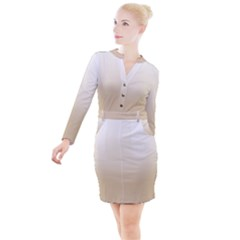Almond Buff To White  Button Long Sleeve Dress