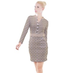 Brick Wall  Button Long Sleeve Dress by TimelessFashion