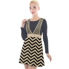 Chevron  Effect  Plunge Pinafore Velour Dress by TimelessFashion