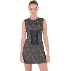 No Step On Snek Pattern Yellow On Dark Gray Background Gadsden Flag Meme Parody Lace Up Front Bodycon Dress by snek