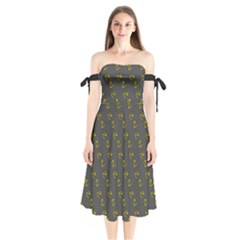 No Step On Snek Pattern Yellow On Dark Gray Background Gadsden Flag Meme Parody Shoulder Tie Bardot Midi Dress by snek