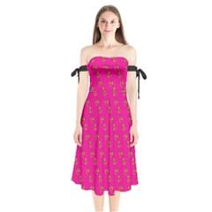 No Step On Snek Pattern Yellow On Pink Background Gadsden Flag Meme Parody Shoulder Tie Bardot Midi Dress by snek