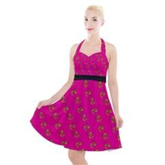 No Step On Snek Pattern Yellow On Pink Background Gadsden Flag Meme Parody Halter Party Swing Dress  by snek