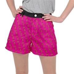 No Step On Snek Pattern Yellow On Pink Background Gadsden Flag Meme Parody Stretch Ripstop Shorts by snek