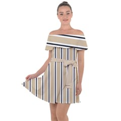 Classic Stripes  Off Shoulder Velour Dress by TimelessFashion