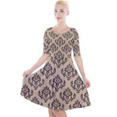 Damask   Black On Almond Buff Quarter Sleeve A Line Dress by TimelessFashion