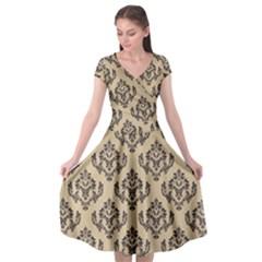Damask   Black On Almond Buff Cap Sleeve Wrap Front Dress