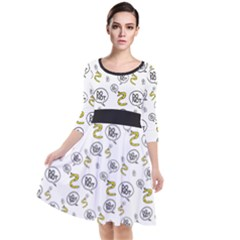 No Step On Snek Do Not  Bubble Speech Pattern White Background Gadsden Flag Meme Quarter Sleeve Waist Band Dress by snek
