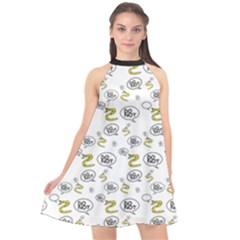 No Step On Snek Do Not  Bubble Speech Pattern White Background Gadsden Flag Meme Halter Neckline Chiffon Dress  by snek