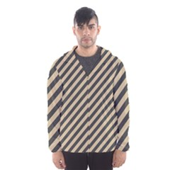 Diagonal Stripes  Hooded Windbreaker (men) by TimelessFashion