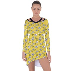 No Step On Snek Do Not  Bubble Speech Pattern Yellow Background Gadsden Flag Meme Asymmetric Cut Out Shift Dress by snek