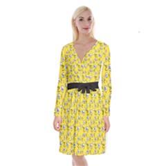 No Step On Snek Do Not  Bubble Speech Pattern Yellow Background Gadsden Flag Meme Long Sleeve Velvet Front Wrap Dress by snek