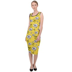 No Step On Snek Do Not  Bubble Speech Pattern Yellow Background Gadsden Flag Meme Sleeveless Pencil Dress by snek