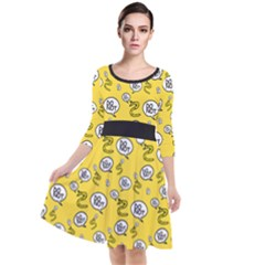 No Step On Snek Do Not  Bubble Speech Pattern Yellow Background Gadsden Flag Meme Quarter Sleeve Waist Band Dress by snek