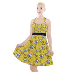 No Step On Snek Do Not  Bubble Speech Pattern Yellow Background Gadsden Flag Meme Halter Party Swing Dress  by snek