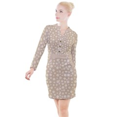 Field Of Daisies  Button Long Sleeve Dress by TimelessFashion